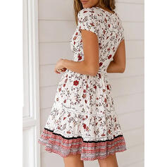 Print/Floral Short Sleeves A-line Above Knee Casual/Boho/Vacation Dresses
