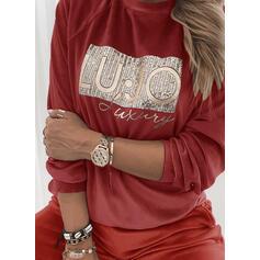 Sequins Figure Round Neck Long Sleeves Sweatshirt