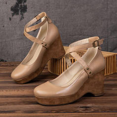 PU Tipo de tacón Cerrados Cuñas con Hebilla zapatos