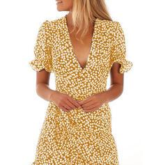Nadrukowana Krótkie rękawy W kształcie litery A Nad kolana Casual/Elegancki/Wakacyjna Okrycie Sukienki