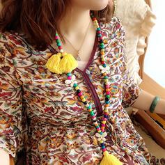 De moda Con estilo Estilo clásico Los granos de madera con Borlas De mujer Collares