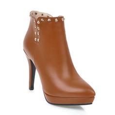 Pentru Femei PU Toc Stiletto Încălţăminte cu Toc Înalt Platformă Închis la vârf Cizme Botine cu Nit Fermoar pantofi