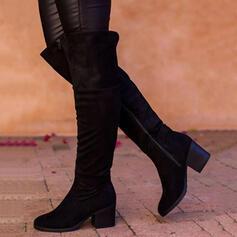 Mulheres Camurça Salto robusto Botas com Zíper Cor sólida sapatos