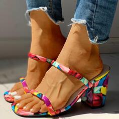 Kvinnor PU Tjockt Häl Sandaler Pumps Tofflor med Animaliska Tryck skor