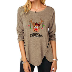 Animal Print Figure Round Neck Long Sleeves Button Up Casual Christmas Blouses