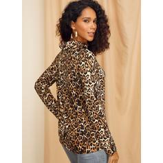 leopard Výstřih ke krku Dlouhé rukávy Neformální Bluze
