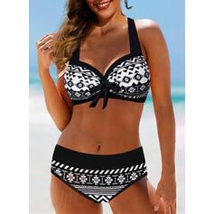 Wysoki stan Wiązany na szyi Wintage Duży rozmiar Bikini Stroje kąpielowe