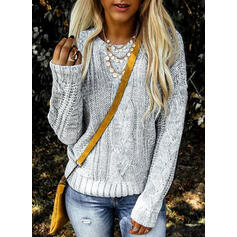 Solid Cable-knit Round Neck Casual Sweaters