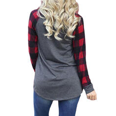 Print Plaid Round Neck Long Sleeves Casual Christmas T-shirts