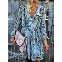 Print/Floral Long Sleeves/Flare Sleeves A-line Above Knee Casual/Vacation Dresses