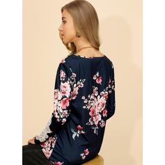 Estampado Floral Renda Gola Redonda Manga Comprida Casual Blusas
