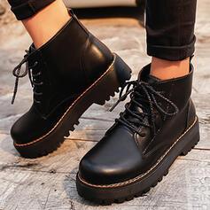 Bayanlar PU Düz topuk platform bot ayakkabı Ayak bileği çizmeler Martin Çizmeleri Yuvarlak ayak Ile Bağcıklı ayakkabı Katı Renk ayakkabı