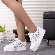 Dla kobiet Tkanina mesh Płaski Obcas Plaskie Round Toe Z Sznurowanie Tkanina Wypalana obuwie
