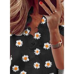 Nadruk Kwiatowy Dekolt w kształcie litery V Krótkie rękawy Casual Bluzki