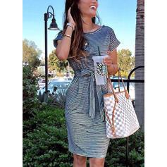 Striped Short Sleeves Sheath Knee Length Casual Dresses