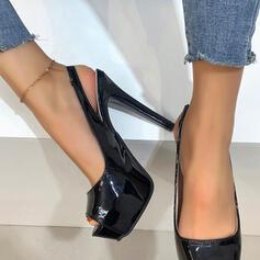 PU Стилет каблук Насосы Платформа Peep Toe Каблуки с Выдолбить Сплошной цвет обувь
