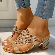 Women's PU Chunky Heel Pumps Slippers With Rhinestone shoes