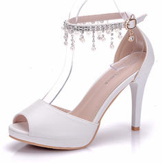 Women's Leatherette Stiletto Heel Peep Toe Platform Pumps With Tassel Crystal