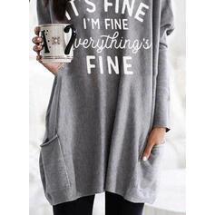 Print Figure Pockets Round Neck Long Sleeves Sweatshirt