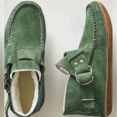 Pentru Femei Piele de Căprioară călcâi plat Botine Deget rotund Cizme de iarna Cizme de Iarnă Ghete Martin cu Nit Cataramă Lace-up pantofi