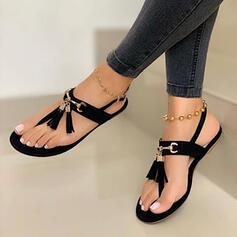 Mulheres Camurça Sem salto Sandálias Sem salto Peep toe com Franja sapatos