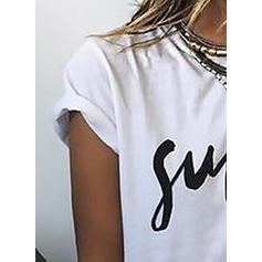 Nadruk Okrągły dekolt Krótkie rękawy Casual Dzianina T-shirty
