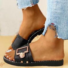 Bayanlar PVC Düz topuk Sandalet Peep Toe Terlik Ile Toka ayakkabı