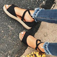 PU Flat Heel Sandaler med Bandage skor