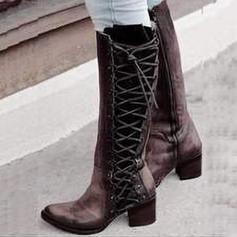 Kvinner Lær Stor Hæl Pumps Støvler med Glidelås sko