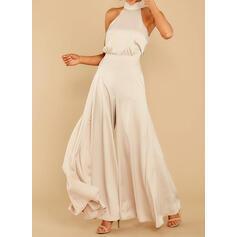 Solid Halter Sleeveless Elegant Party Jumpsuit