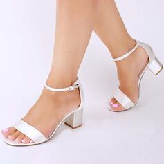 Bayanlar Saten Tıknaz Topuk Sandalet Pompalar Peep Toe Ile Toka ayakkabı