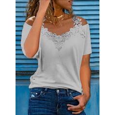 Solid Lace Cold Shoulder Short Sleeves Cold Shoulder Sleeve Elegant Blouses