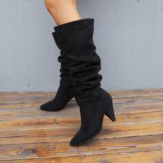 Mulheres Camurça Salto cone Botas na panturrilha Dedo pontudo com Ruched Cor sólida sapatos