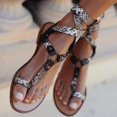 PU Płaski Obcas Sandały Plaskie Otwarty Nosek Buta Pierścień na palec Z Klamra obuwie