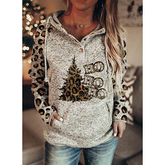 Print Leopard Figure Pockets Long Sleeves Christmas Sweatshirt