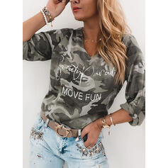 Print Figure Camouflage V-Neck Long Sleeves Casual T-shirts