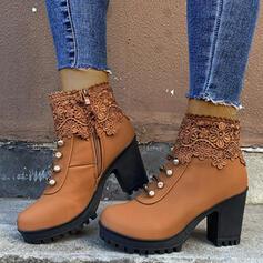 Pentru Femei PU Toc gros Botine Deget rotund Ghete Martin cu Cataramă Fermoar pantofi