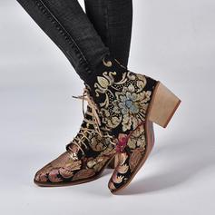Dla kobiet PU Obcas Slupek Kozaki Z Aplikacja/ Naszywka Satynowy Kwiat obuwie