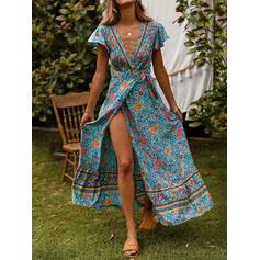 Print/Floral Short Sleeves A-line Wrap/Skater Casual/Boho/Vacation Maxi Dresses