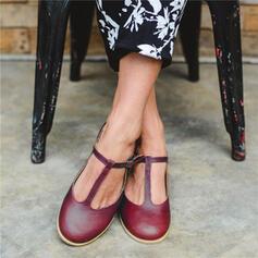 Frauen PU Flascher Absatz Flache Schuhe Geschlossene Zehe mit Hohl-out Schuhe