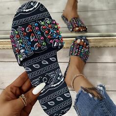 Dla kobiet Material Płaski Obcas Sandały Plaskie Otwarty Nosek Buta Kapcie Z Zdobiony koralikami Tkanina Wypalana obuwie
