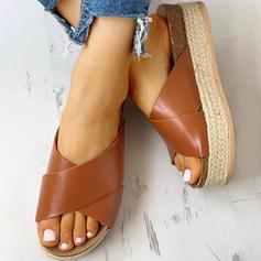 Women's PU Flat Heel Sandals Peep Toe Slippers With Animal Print shoes