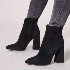 Pentru Femei PU Toc gros Cu vârful Ghete Martin cu Fermoar Culoare solida pantofi