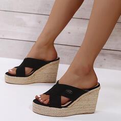 Dla kobiet PU Obcas Koturnowy Sandały Platforma Koturny Otwarty Nosek Buta Kapcie Obcasy Z Tkanina Wypalana obuwie