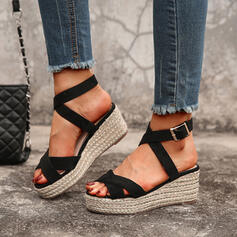 Women's PU Wedge Heel Sandals Platform Wedges Peep Toe Heels With Buckle Hollow-out shoes