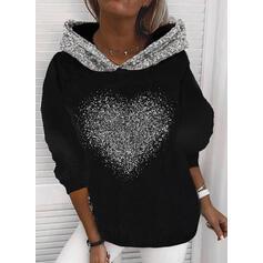 Sequins Heart Long Sleeves Hoodie