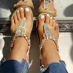 Dla kobiet PU Płaski Obcas Sandały Plaskie Otwarty Nosek Buta Japonki Z Cekin obuwie