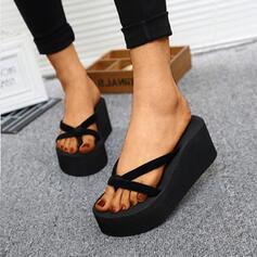 Dla kobiet PU Obcas Koturnowy Sandały Platforma Koturny Otwarty Nosek Buta Japonki Kapcie Obcasy Z Pozostałe obuwie