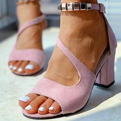 Женский замша Толстый каблук Сандалии Peep Toe с Выдолбить Сплошной цвет обувь
