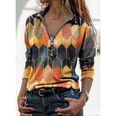 Geometrický Potisk Klopa Dlouhé rukávy Neformální Bluze